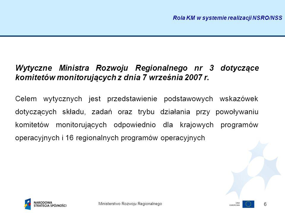 Rola KM w systemie realizacji NSRO/NSS