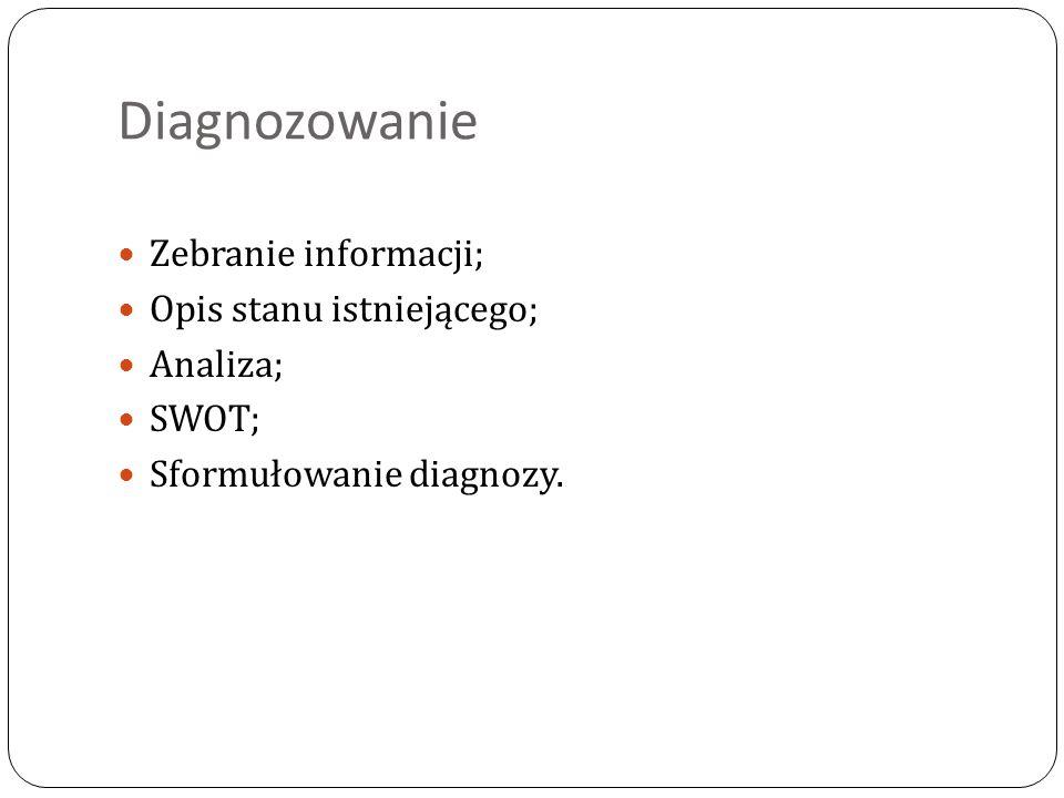 Diagnozowanie Zebranie informacji; Opis stanu istniejącego; Analiza;