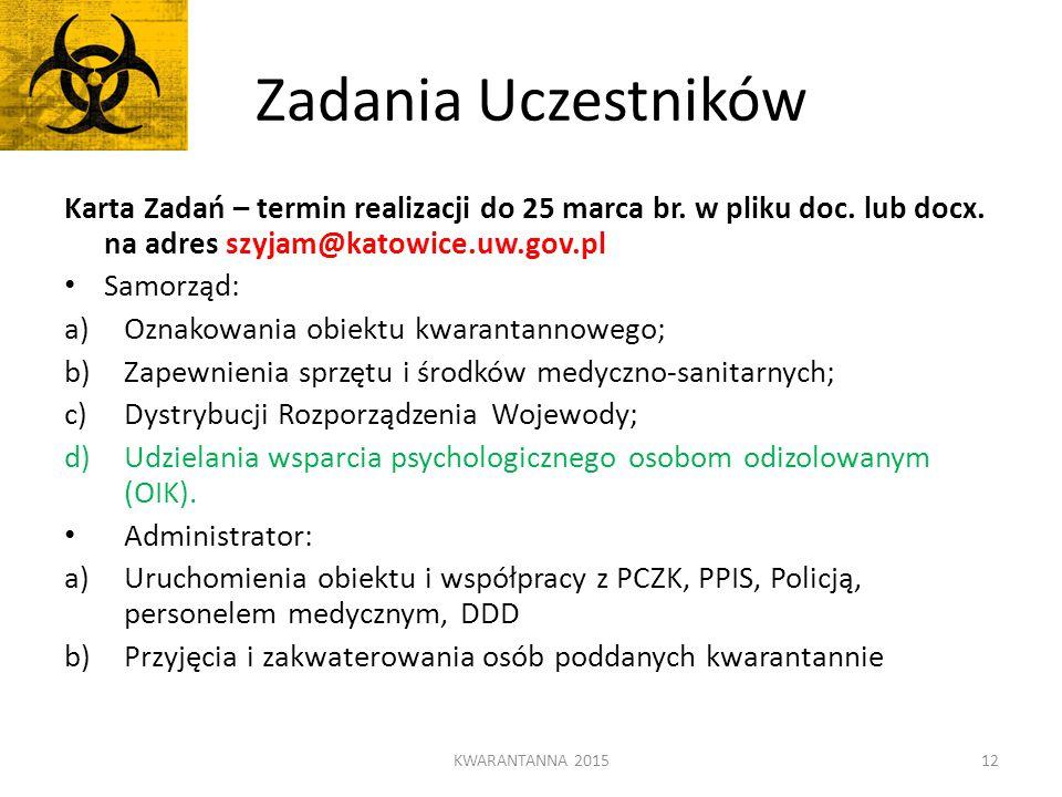 Zadania Uczestników Karta Zadań – termin realizacji do 25 marca br. w pliku doc. lub docx. na adres szyjam@katowice.uw.gov.pl.