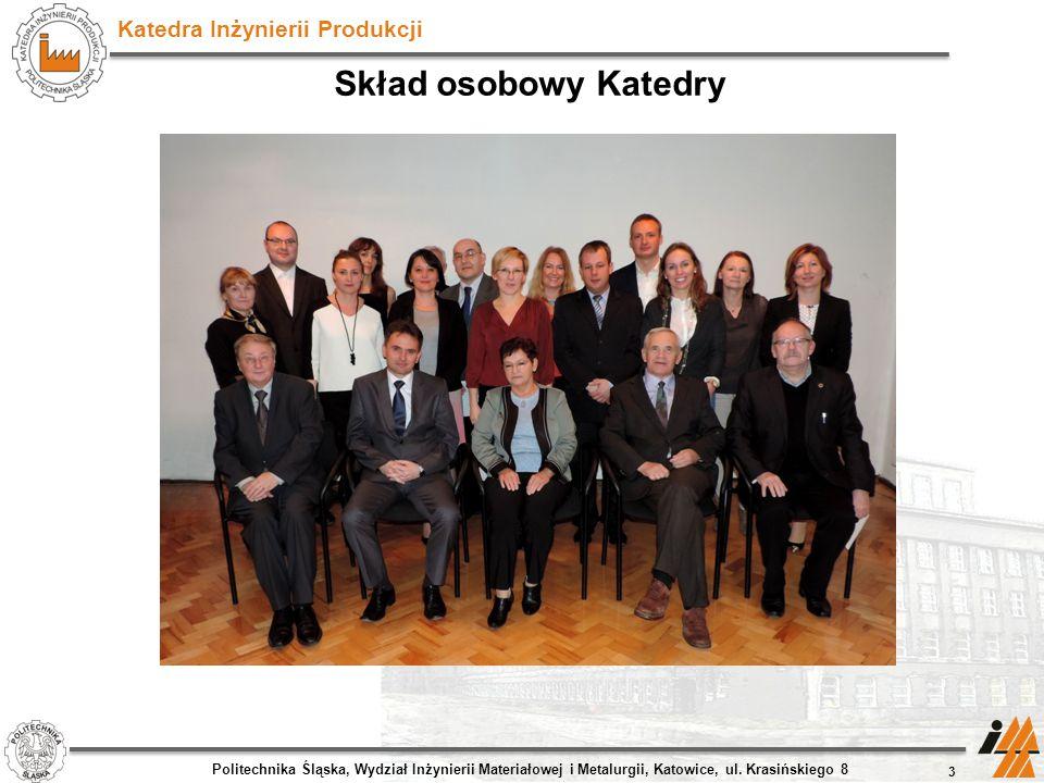 Skład osobowy Katedry Politechnika Śląska, Wydział Inżynierii Materiałowej i Metalurgii, Katowice, ul.