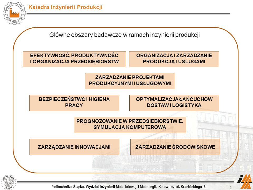 Główne obszary badawcze w ramach inżynierii produkcji