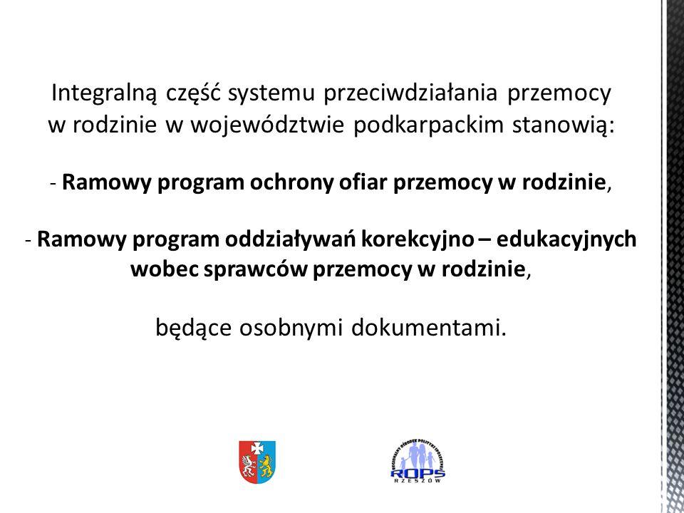 Integralną część systemu przeciwdziałania przemocy w rodzinie w województwie podkarpackim stanowią: - Ramowy program ochrony ofiar przemocy w rodzinie, - Ramowy program oddziaływań korekcyjno – edukacyjnych wobec sprawców przemocy w rodzinie, będące osobnymi dokumentami.
