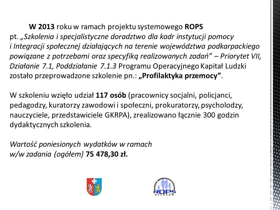 W 2013 roku w ramach projektu systemowego ROPS pt