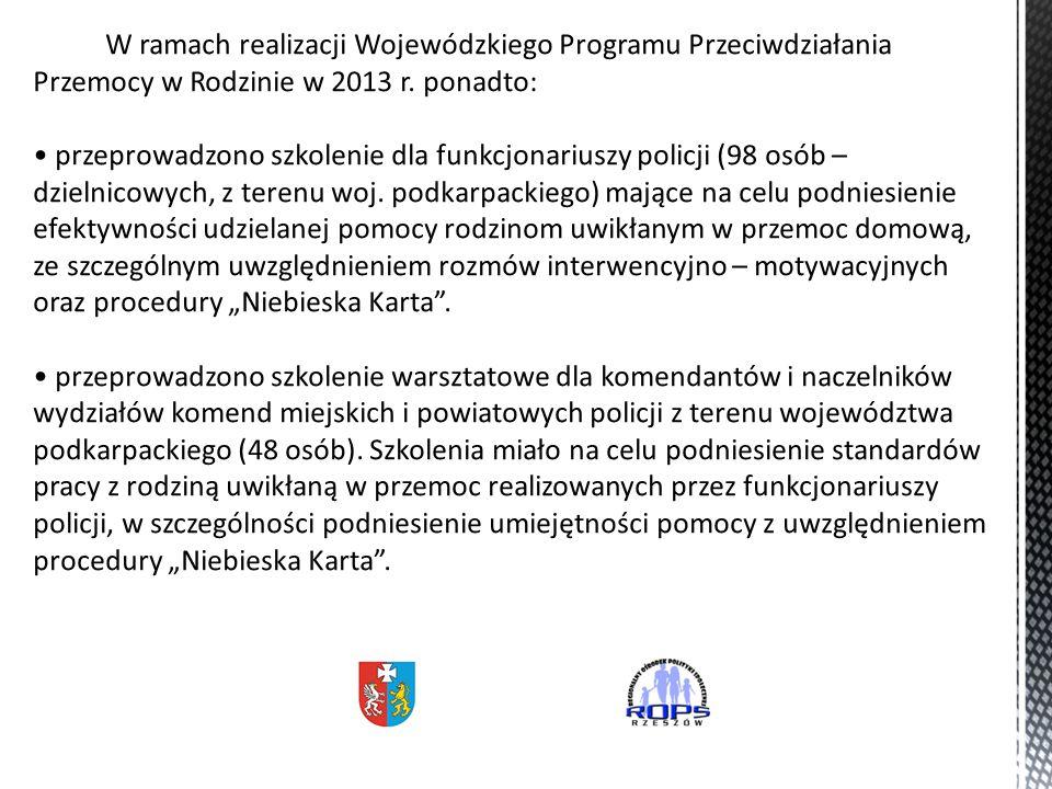 W ramach realizacji Wojewódzkiego Programu Przeciwdziałania Przemocy w Rodzinie w 2013 r.