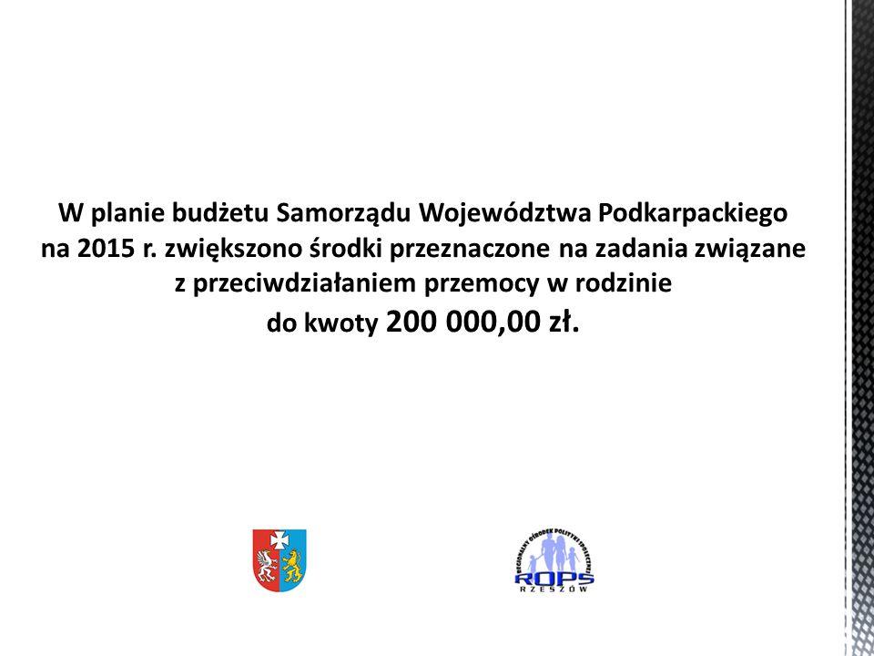 W planie budżetu Samorządu Województwa Podkarpackiego na 2015 r