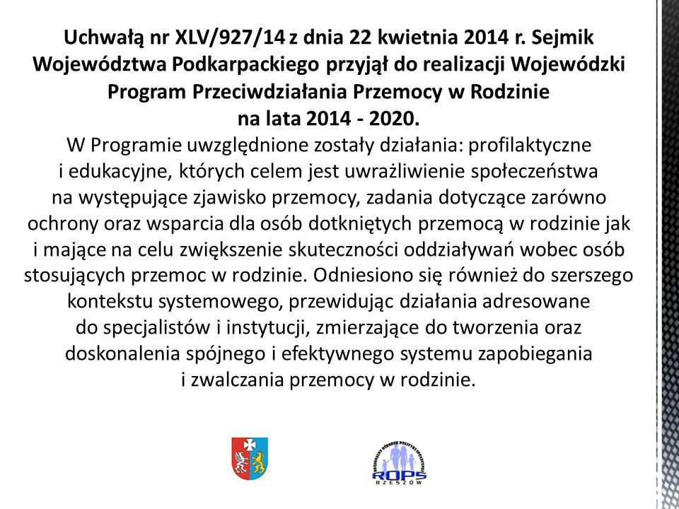 Uchwałą nr XLV/927/14 z dnia 22 kwietnia 2014 r