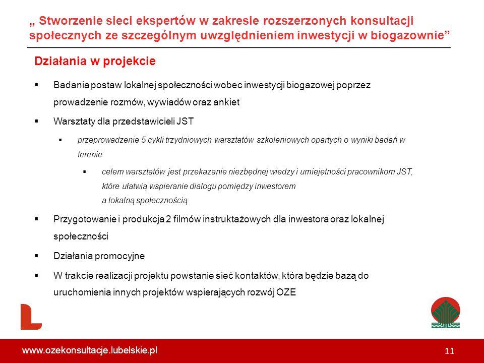 """"""" Stworzenie sieci ekspertów w zakresie rozszerzonych konsultacji społecznych ze szczególnym uwzględnieniem inwestycji w biogazownie"""