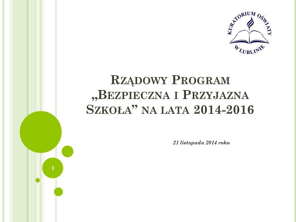 """Rządowy Program """"Bezpieczna i Przyjazna Szkoła na lata 2014-2016"""