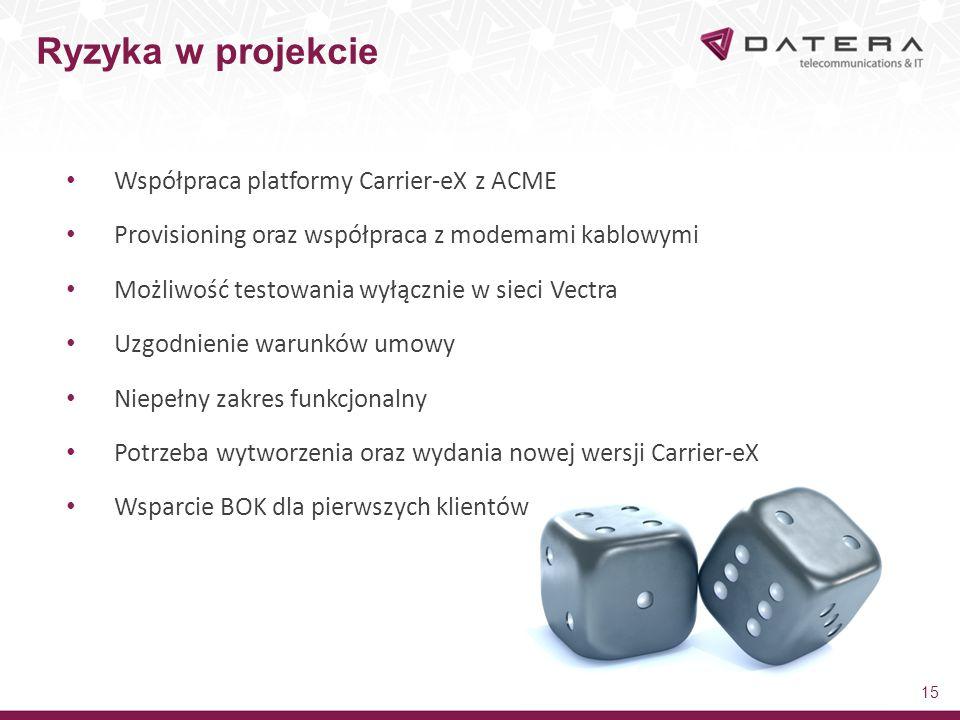 Ryzyka w projekcie Współpraca platformy Carrier-eX z ACME
