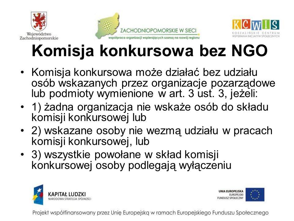 Komisja konkursowa bez NGO