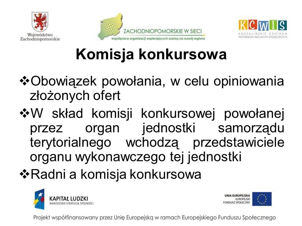 Komisja konkursowa Obowiązek powołania, w celu opiniowania złożonych ofert.