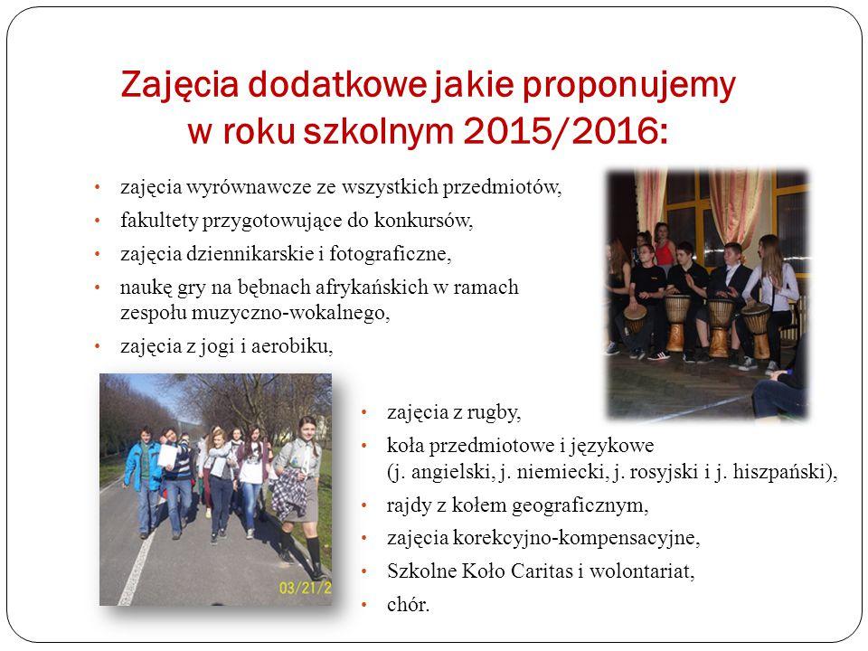 Zajęcia dodatkowe jakie proponujemy w roku szkolnym 2015/2016: