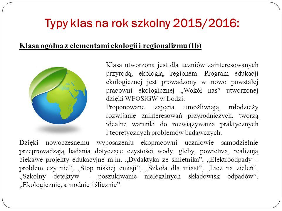 Typy klas na rok szkolny 2015/2016: