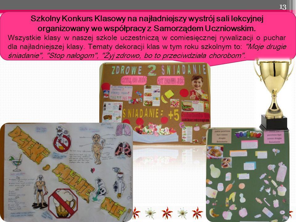 Szkolny Konkurs Klasowy na najładniejszy wystrój sali lekcyjnej organizowany we współpracy z Samorządem Uczniowskim.