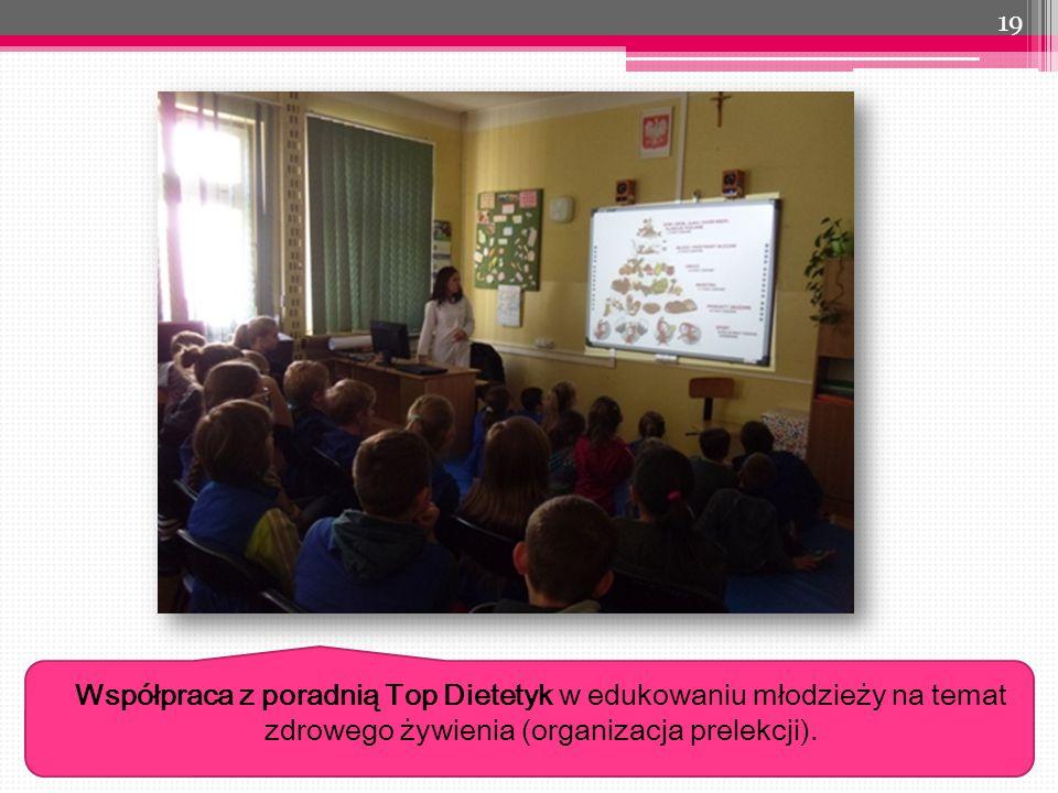 Współpraca z poradnią Top Dietetyk w edukowaniu młodzieży na temat zdrowego żywienia (organizacja prelekcji).