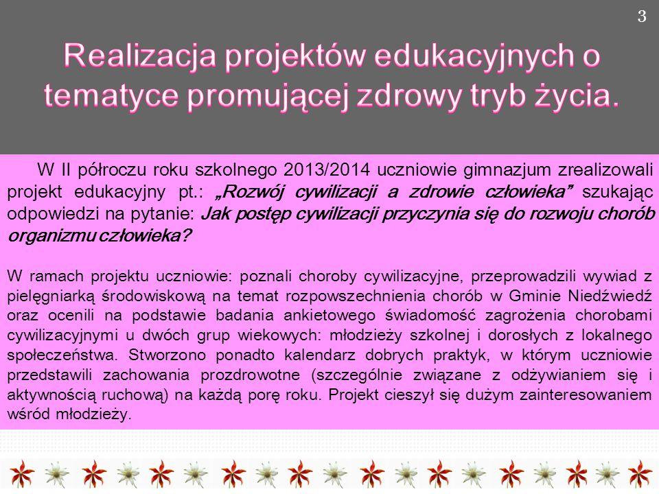 Realizacja projektów edukacyjnych o tematyce promującej zdrowy tryb życia.