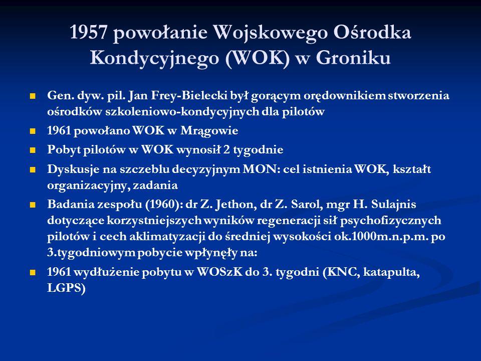 1957 powołanie Wojskowego Ośrodka Kondycyjnego (WOK) w Groniku