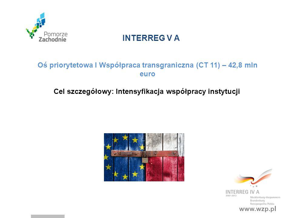 Oś priorytetowa I Współpraca transgraniczna (CT 11) – 42,8 mln euro
