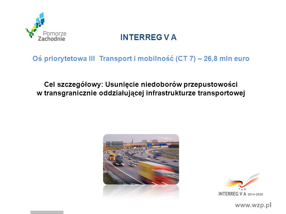 Oś priorytetowa III Transport i mobilność (CT 7) – 26,8 mln euro