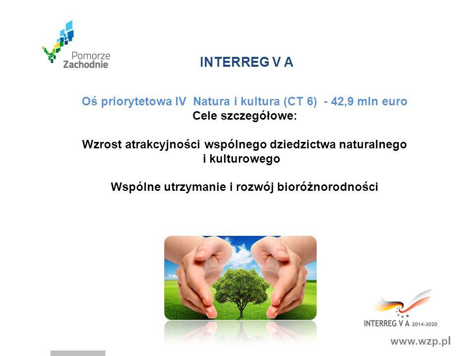 INTERREG V A Oś priorytetowa IV Natura i kultura (CT 6) - 42,9 mln euro. Cele szczegółowe: