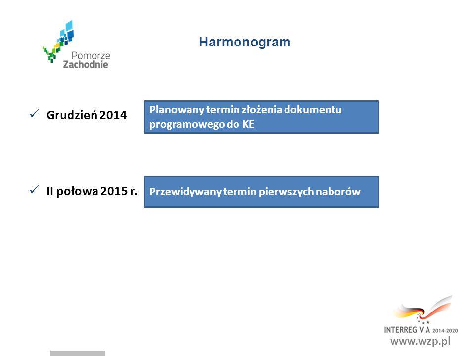 Harmonogram Grudzień 2014 II połowa 2015 r.