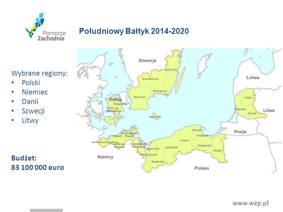 Południowy Bałtyk 2014-2020 Wybrane regiony: Polski Niemiec Danii