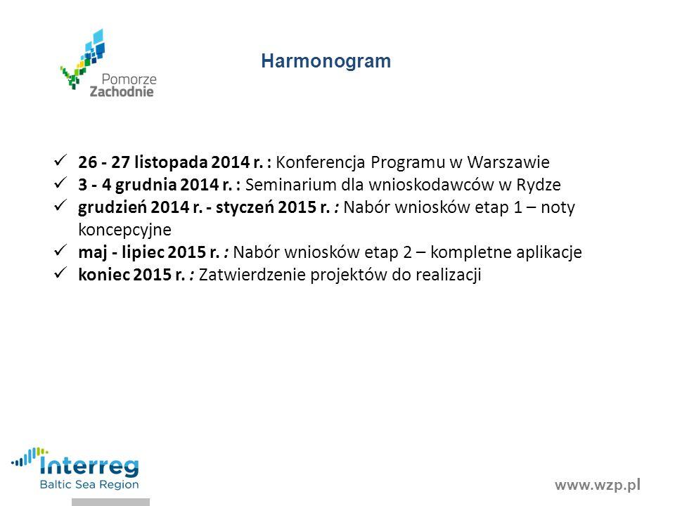 Harmonogram 26 - 27 listopada 2014 r. : Konferencja Programu w Warszawie. 3 - 4 grudnia 2014 r. : Seminarium dla wnioskodawców w Rydze.