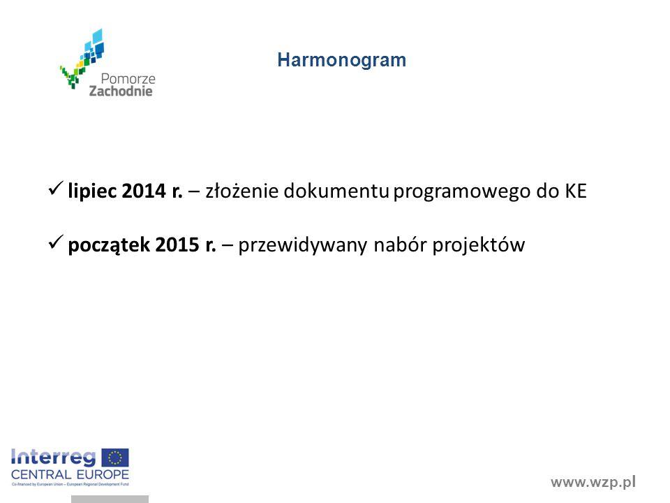 lipiec 2014 r. – złożenie dokumentu programowego do KE
