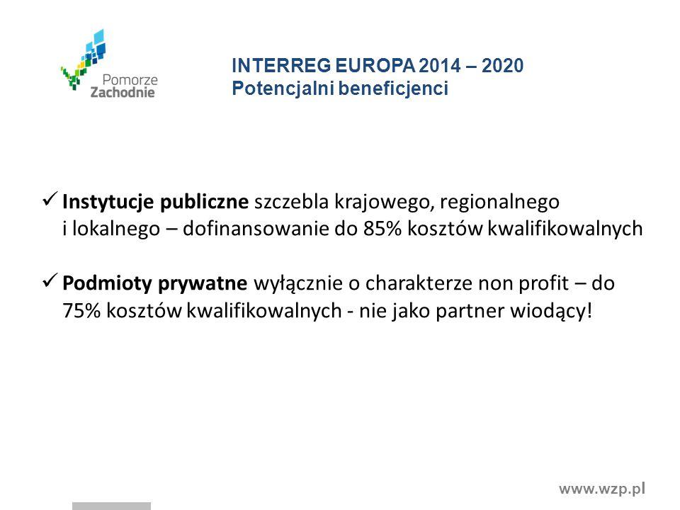 INTERREG EUROPA 2014 – 2020 Potencjalni beneficjenci
