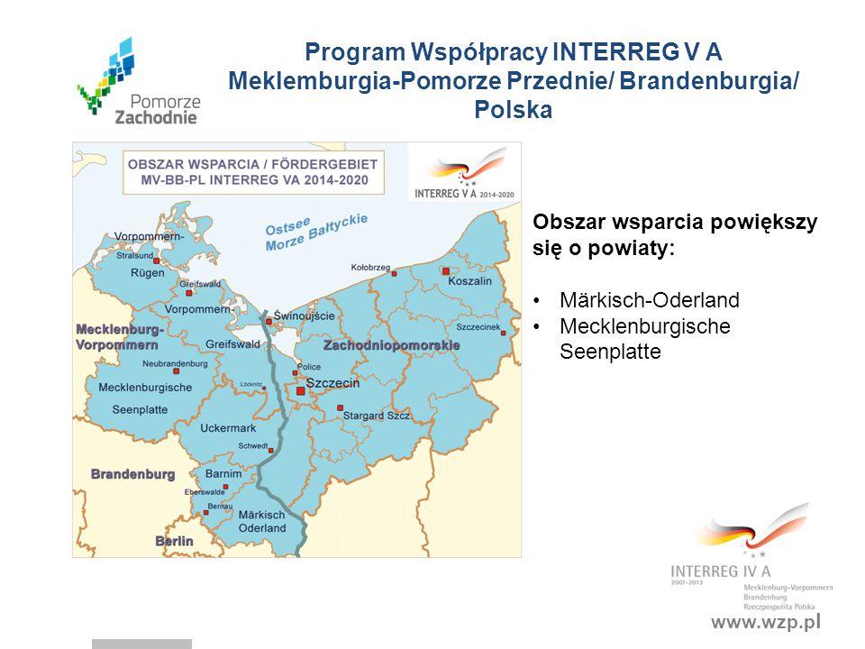 Program Współpracy INTERREG V A Meklemburgia-Pomorze Przednie/ Brandenburgia/ Polska