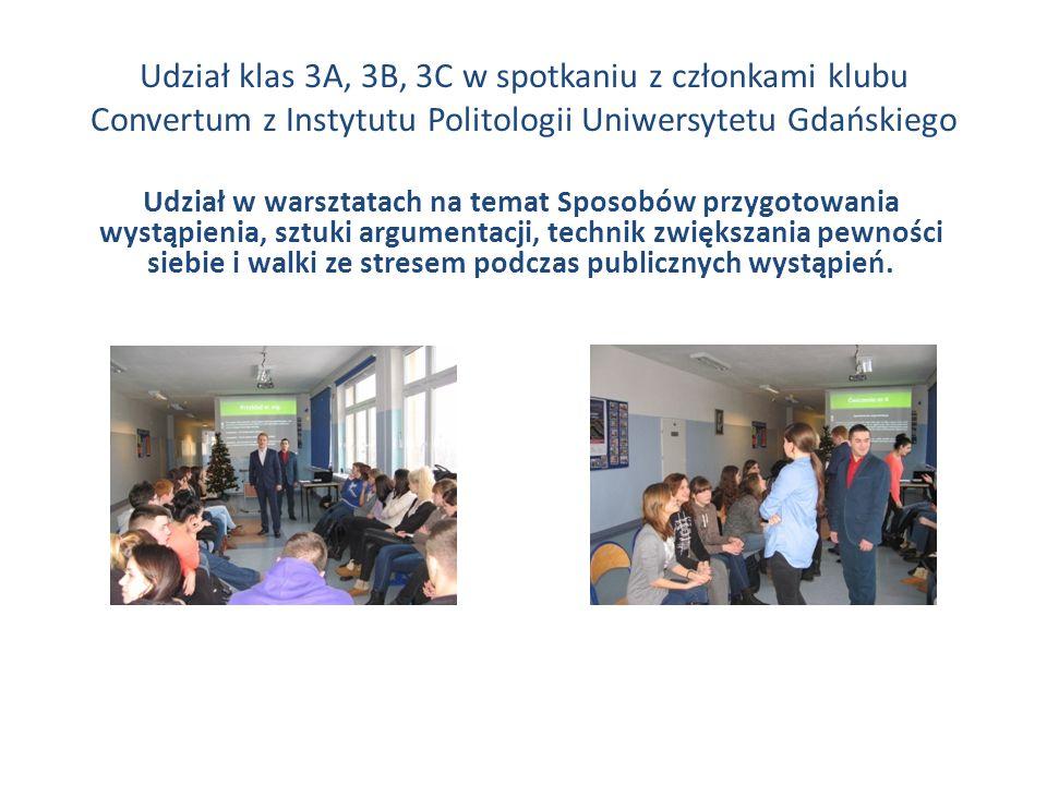 Udział klas 3A, 3B, 3C w spotkaniu z członkami klubu Convertum z Instytutu Politologii Uniwersytetu Gdańskiego