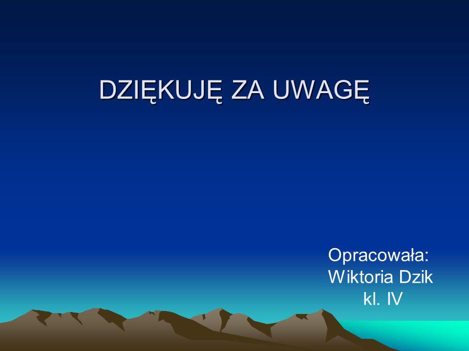 DZIĘKUJĘ ZA UWAGĘ Opracowała: Wiktoria Dzik kl. IV