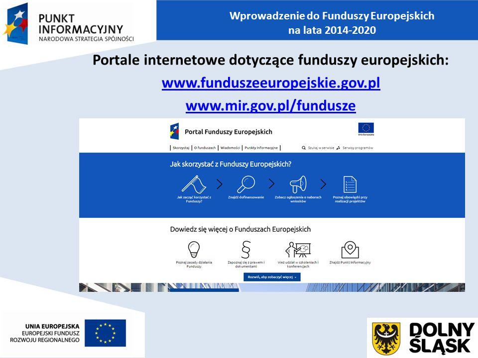 Portale internetowe dotyczące funduszy europejskich: