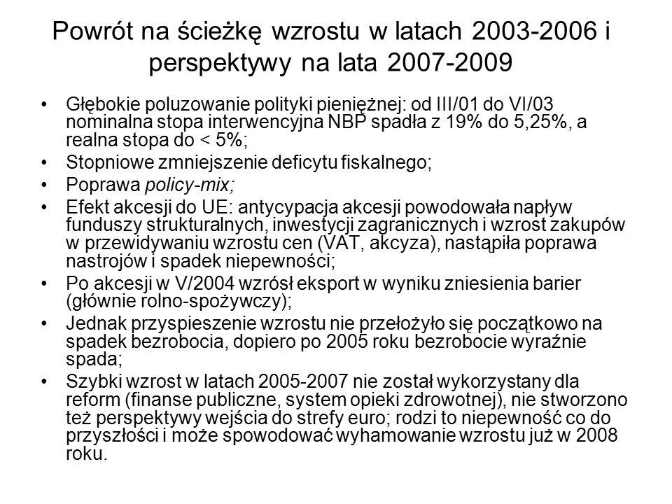 Powrót na ścieżkę wzrostu w latach 2003-2006 i perspektywy na lata 2007-2009