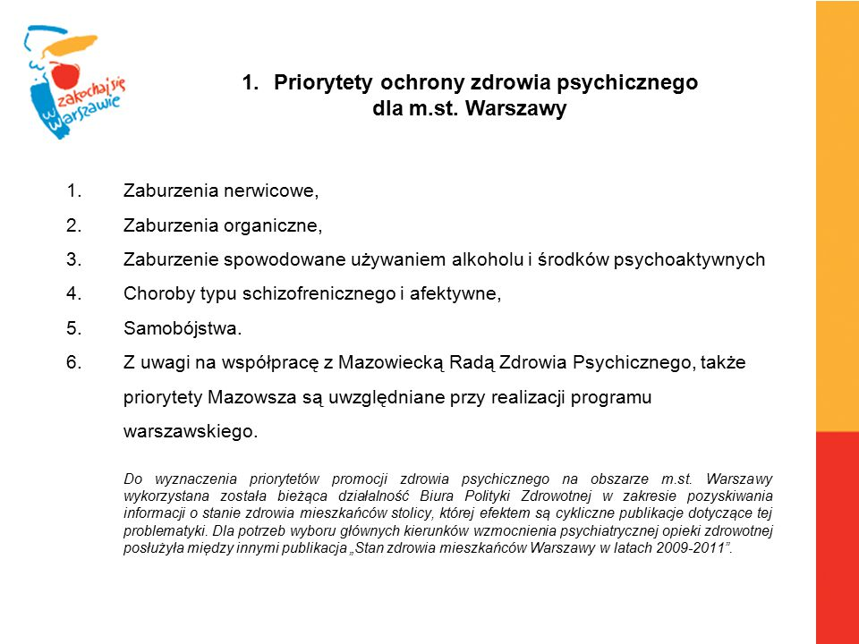 Priorytety ochrony zdrowia psychicznego