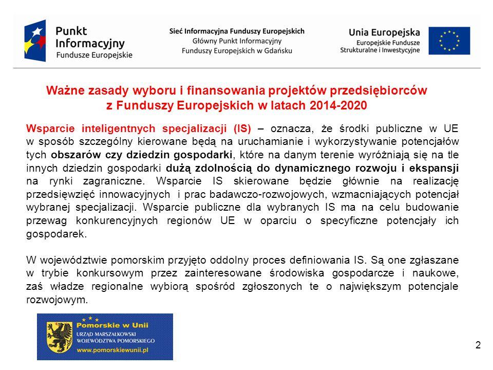 Ważne zasady wyboru i finansowania projektów przedsiębiorców z Funduszy Europejskich w latach 2014-2020