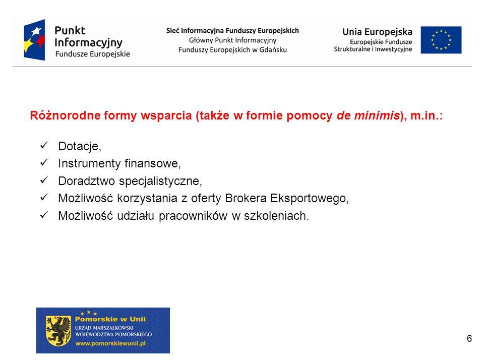 Różnorodne formy wsparcia (także w formie pomocy de minimis), m.in.: