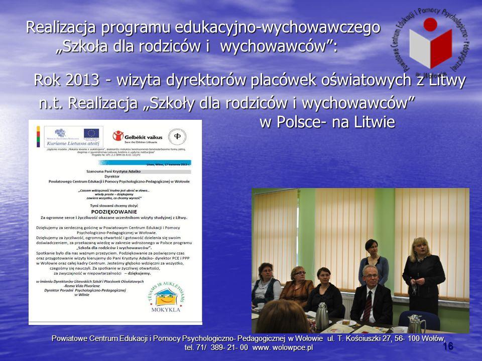 """Realizacja programu edukacyjno-wychowawczego """"Szkoła dla rodziców i wychowawców :"""