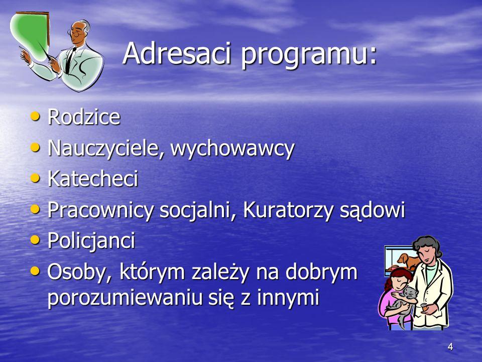 Adresaci programu: Rodzice Nauczyciele, wychowawcy Katecheci