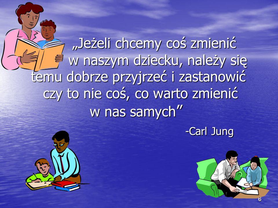 """""""Jeżeli chcemy coś zmienić w naszym dziecku, należy się temu dobrze przyjrzeć i zastanowić czy to nie coś, co warto zmienić w nas samych -Carl Jung"""