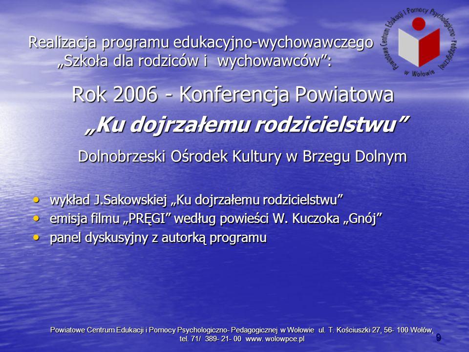 """Rok 2006 - Konferencja Powiatowa """"Ku dojrzałemu rodzicielstwu"""