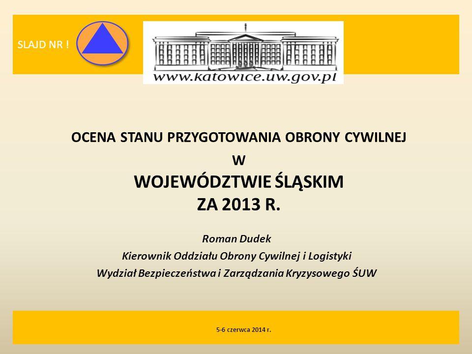 SLAJD NR ! ocena stanu przygotowania obrony cywilnej w WOJEWÓDZTWIE ŚLĄSKIM ZA 2013 R. Roman Dudek.