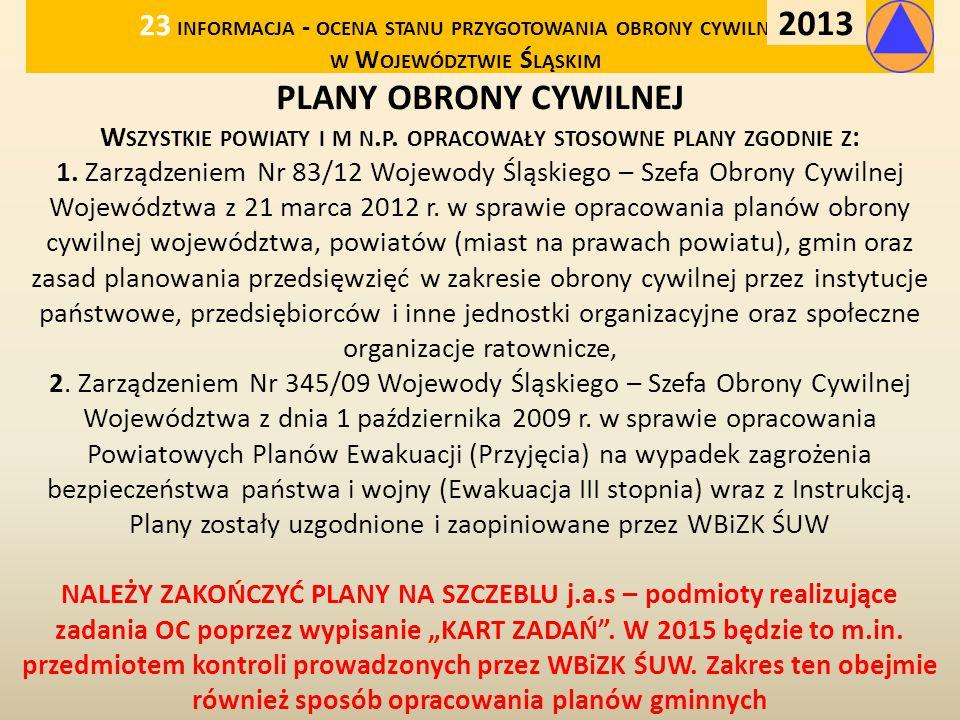 23 informacja - ocena stanu przygotowania obrony cywilnej w Województwie Śląskim
