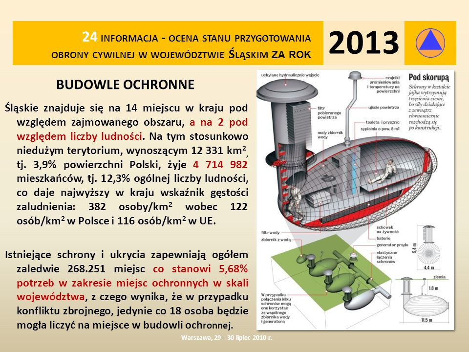 2013 24 informacja - ocena stanu przygotowania obrony cywilnej w województwie Śląskim za rok. budowle ochronne.