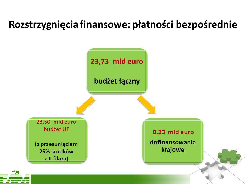Rozstrzygnięcia finansowe: płatności bezpośrednie