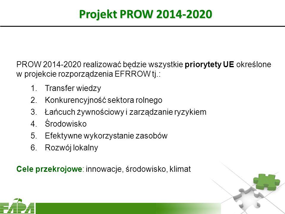 Projekt PROW 2014-2020 PROW 2014-2020 realizować będzie wszystkie priorytety UE określone w projekcie rozporządzenia EFRROW tj.: