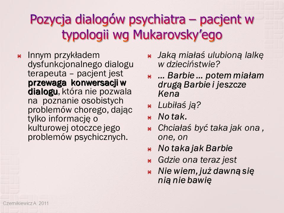 Pozycja dialogów psychiatra – pacjent w typologii wg Mukarovsky'ego