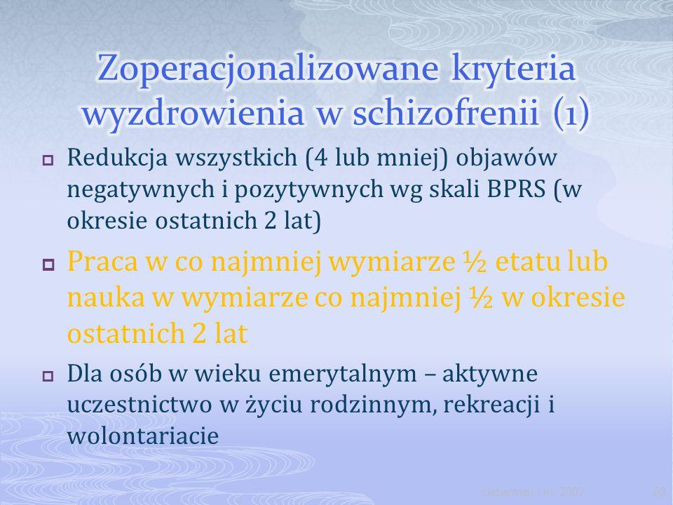 Zoperacjonalizowane kryteria wyzdrowienia w schizofrenii (1)