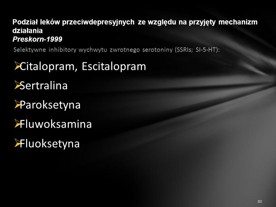 Citalopram, Escitalopram Sertralina Paroksetyna Fluwoksamina