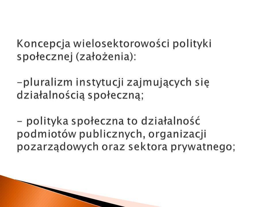 Koncepcja wielosektorowości polityki społecznej (założenia):